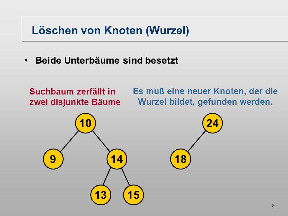 7 Löschen von Knoten (Wurzel) 18149 1024 16 1315 Beide Unterbäume sind besetzt