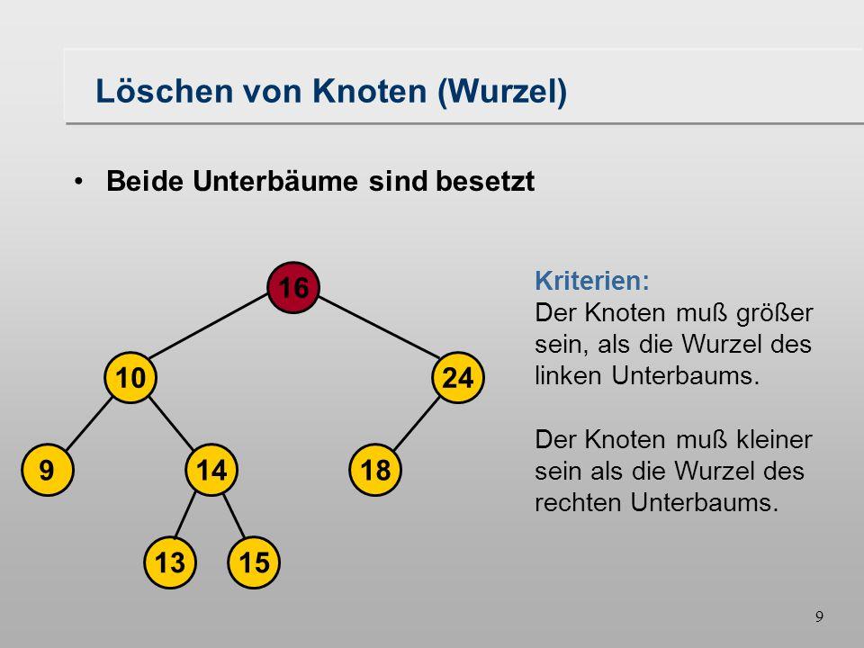 8 Löschen von Knoten (Wurzel) Beide Unterbäume sind besetzt Suchbaum zerfällt in zwei disjunkte Bäume Es muß eine neuer Knoten, der die Wurzel bildet, gefunden werden.