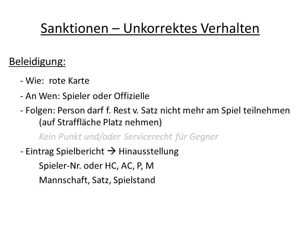 Sanktionen – Unkorrektes Verhalten Beleidigung: - Wie: rote Karte - An Wen: Spieler oder Offizielle - Folgen: Person darf f.