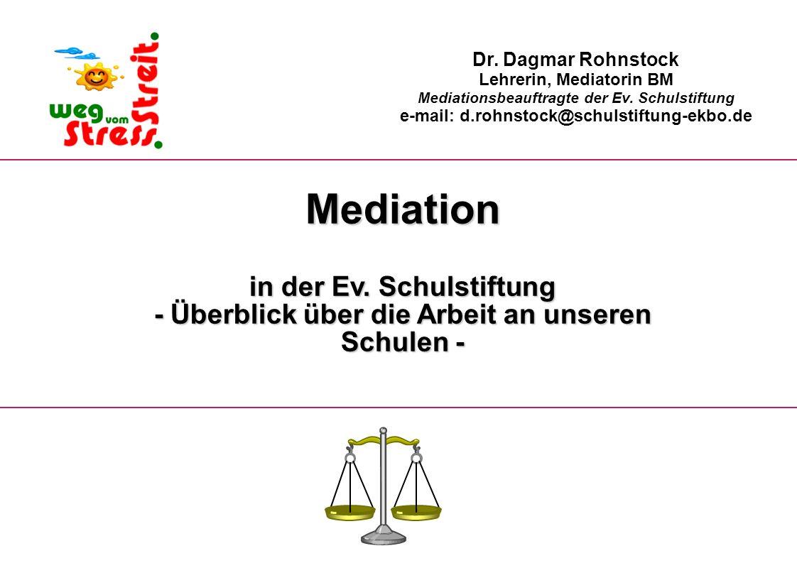 Mediation in der Ev. Schulstiftung - Überblick über die Arbeit an unseren Schulen - Dr. Dagmar Rohnstock Lehrerin, Mediatorin BM Mediationsbeauftragte