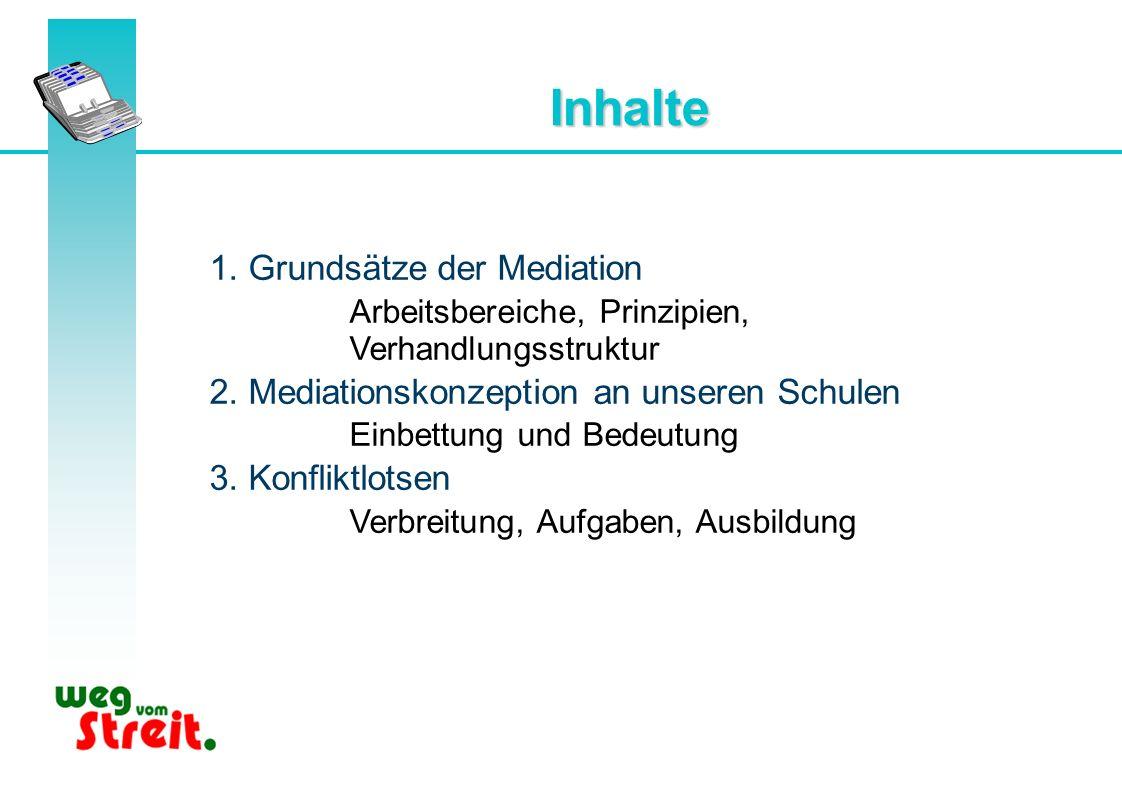 Inhalte 1. Grundsätze der Mediation Arbeitsbereiche, Prinzipien, Verhandlungsstruktur 2. Mediationskonzeption an unseren Schulen Einbettung und Bedeut