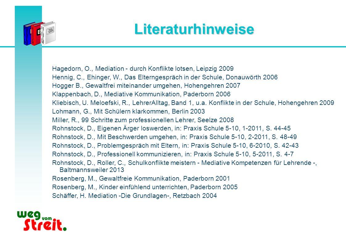 Literaturhinweise Hagedorn, O., Mediation - durch Konflikte lotsen, Leipzig 2009 Hennig, C., Ehinger, W., Das Elterngespräch in der Schule, Donauwörth