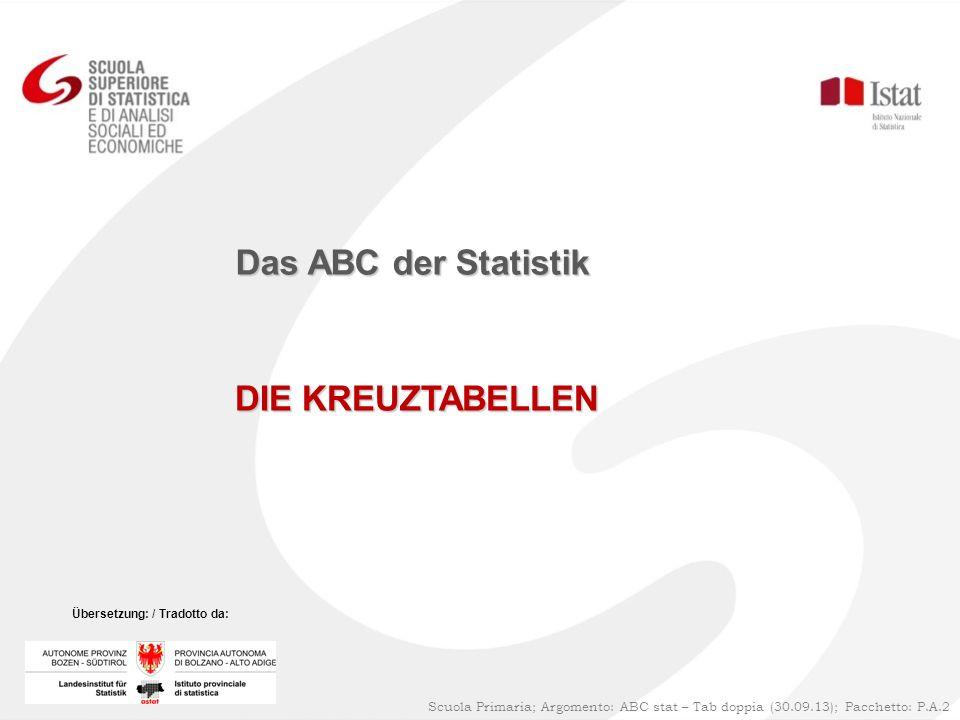 DIE KREUZTABELLEN Das ABC der Statistik Scuola Primaria; Argomento: ABC stat – Tab doppia (30.09.13); Pacchetto: P.A.2 Übersetzung: / Tradotto da: