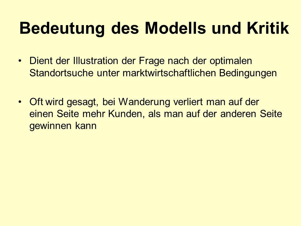 Bedeutung des Modells und Kritik Dient der Illustration der Frage nach der optimalen Standortsuche unter marktwirtschaftlichen Bedingungen Oft wird ge