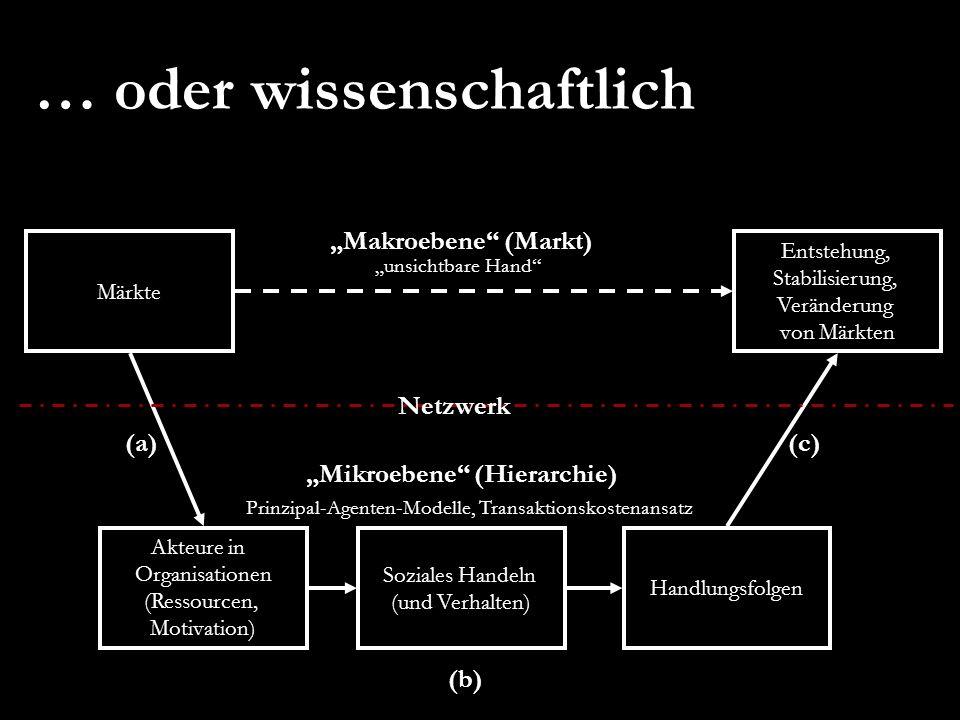 … oder wissenschaftlich Makroebene (Markt) Märkte Entstehung, Stabilisierung, Veränderung von Märkten Akteure in Organisationen (Ressourcen, Motivatio