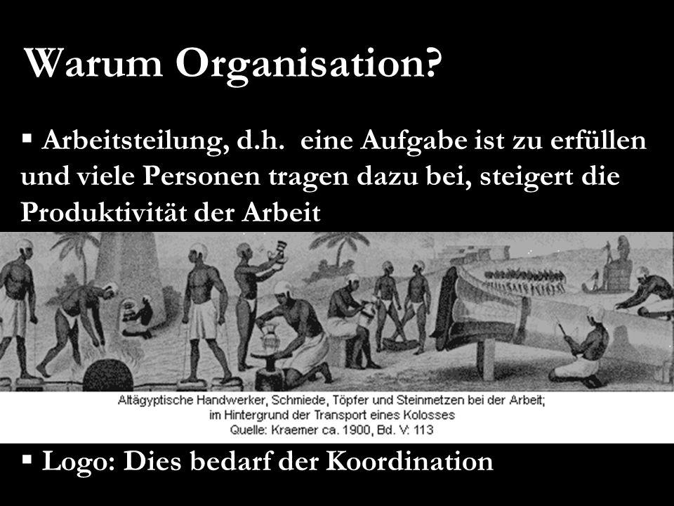 Warum Organisation? Arbeitsteilung, d.h. eine Aufgabe ist zu erfüllen und viele Personen tragen dazu bei, steigert die Produktivität der Arbeit Spezia