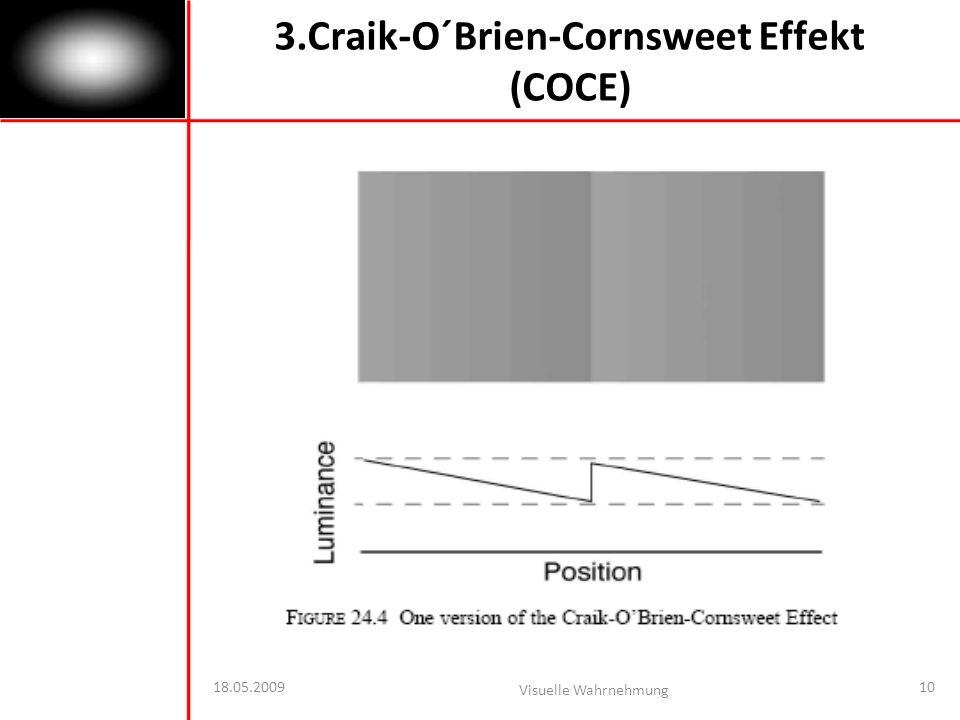 18.05.2009 Visuelle Wahrnehmung 10 3.Craik-O´Brien-Cornsweet Effekt (COCE)