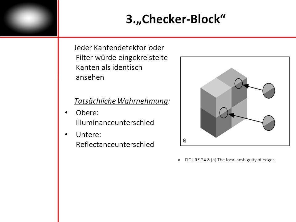 3.Checker-Block Jeder Kantendetektor oder Filter würde eingekreistelte Kanten als identisch ansehen Tatsächliche Wahrnehmung: Obere: Illuminanceunterschied Untere: Reflectanceunterschied » FIGURE 24.8 (a) The local ambiguity of edges