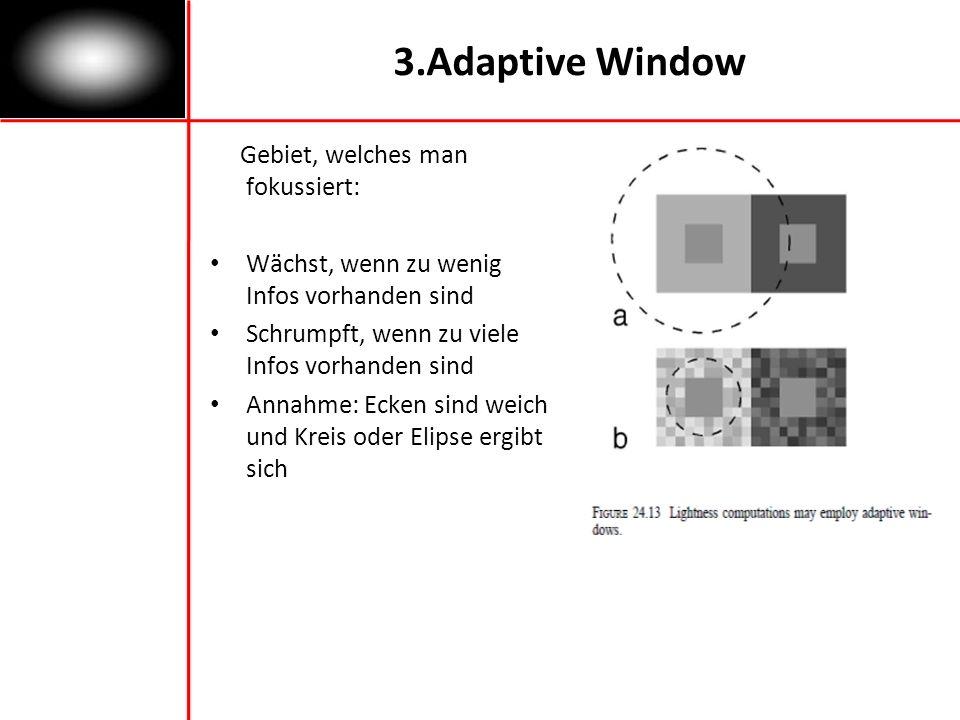 3.Adaptive Window Gebiet, welches man fokussiert: Wächst, wenn zu wenig Infos vorhanden sind Schrumpft, wenn zu viele Infos vorhanden sind Annahme: Ecken sind weich und Kreis oder Elipse ergibt sich