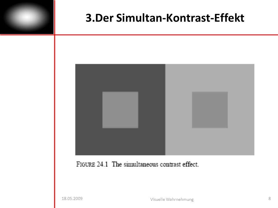18.05.2009 Visuelle Wahrnehmung 8 3.Der Simultan-Kontrast-Effekt