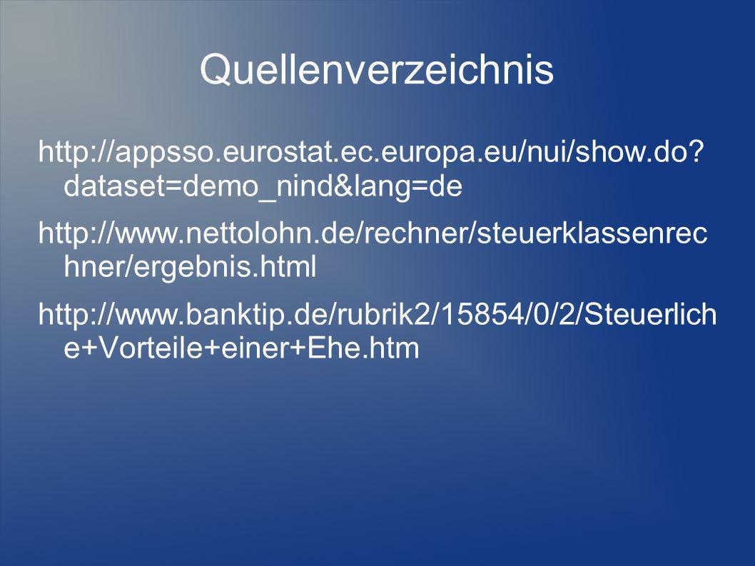 Quellenverzeichnis http://appsso.eurostat.ec.europa.eu/nui/show.do? dataset=demo_nind&lang=de http://www.nettolohn.de/rechner/steuerklassenrec hner/er