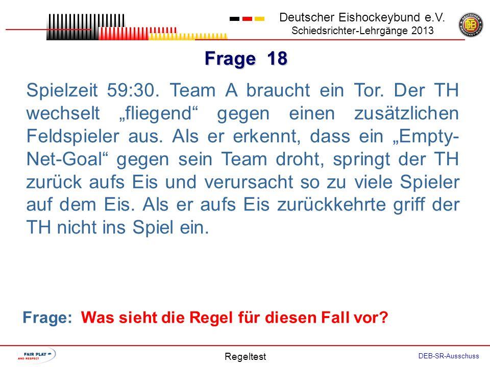 Frage 17 Deutscher Eishockeybund e.V. Schiedsrichter-Lehrgänge 2013 Regeltest DEB-SR-Ausschuss Der verteidigende Spieler A5 wehrt einen Schuss ab. Der