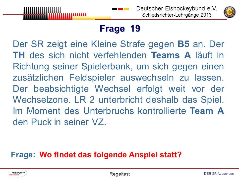 Frage 18 Deutscher Eishockeybund e.V. Schiedsrichter-Lehrgänge 2013 Regeltest DEB-SR-Ausschuss Spielzeit 59:30. Team A braucht ein Tor. Der TH wechsel