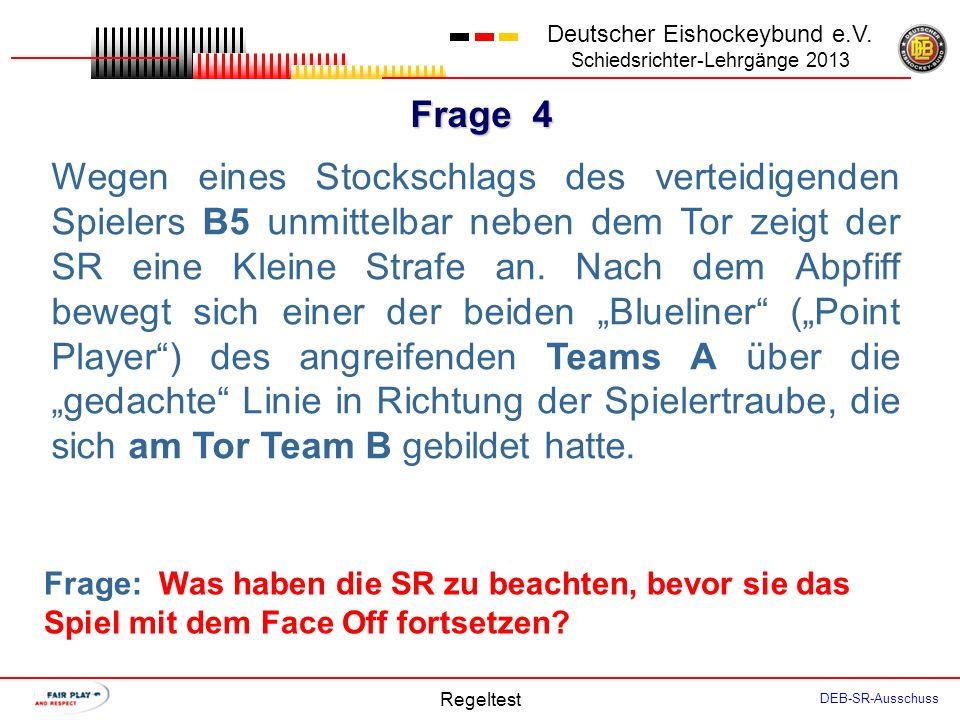 Frage 3 Deutscher Eishockeybund e.V. Schiedsrichter-Lehrgänge 2013 Regeltest DEB-SR-Ausschuss Situation: A4 spielt den Puck aus der NZ zurück in die A