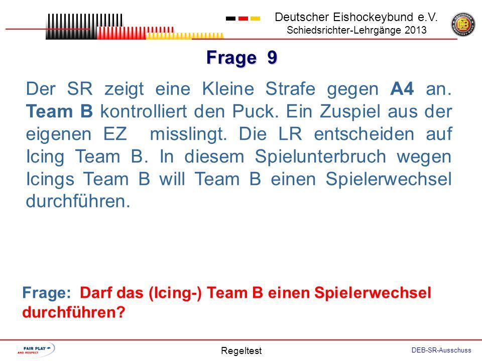 Frage 8 Deutscher Eishockeybund e.V. Schiedsrichter-Lehrgänge 2013 Regeltest DEB-SR-Ausschuss Team A spielt sehr druckvoll in seiner AZ. Als sich das