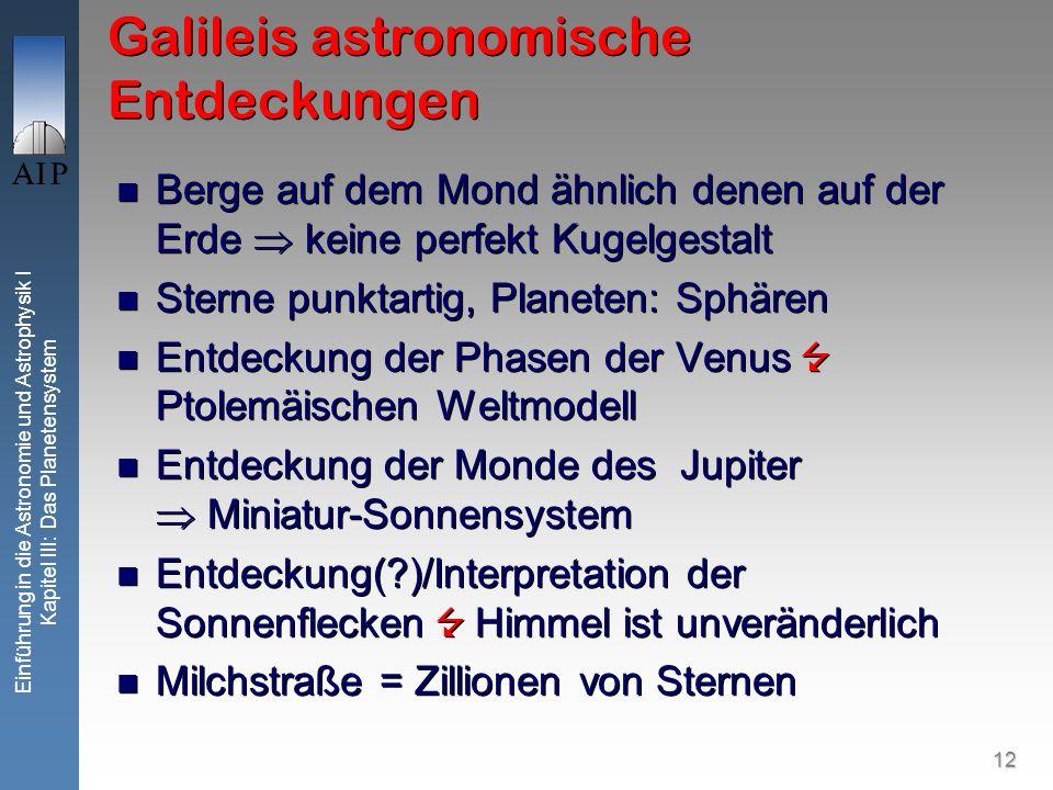 12 Einführung in die Astronomie und Astrophysik I Kapitel III: Das Planetensystem Galileis astronomische Entdeckungen Berge auf dem Mond ähnlich denen