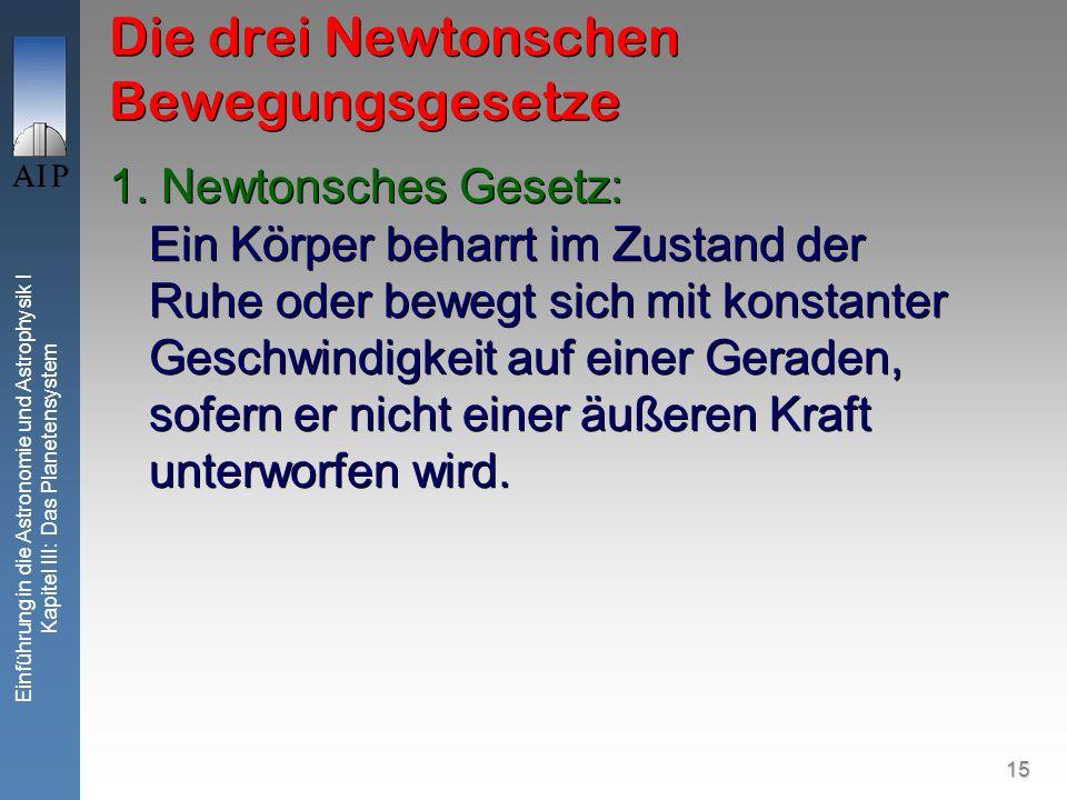 15 Einführung in die Astronomie und Astrophysik I Kapitel III: Das Planetensystem Die drei Newtonschen Bewegungsgesetze 1. Newtonsches Gesetz: Ein Kör