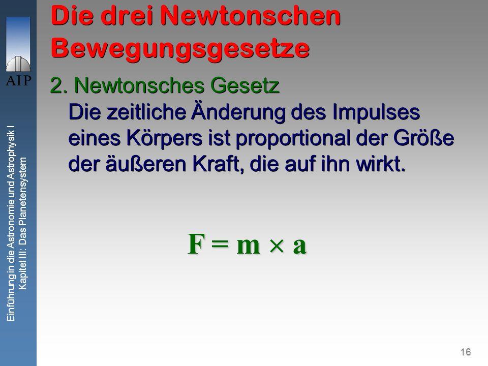 16 Einführung in die Astronomie und Astrophysik I Kapitel III: Das Planetensystem Die drei Newtonschen Bewegungsgesetze 2. Newtonsches Gesetz Die zeit