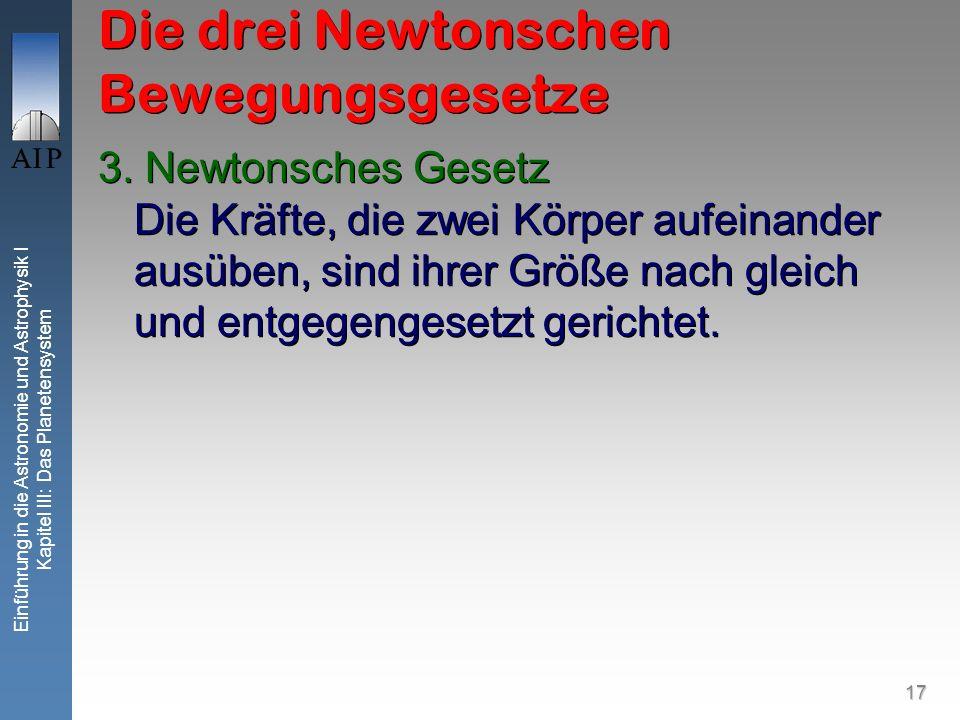 17 Einführung in die Astronomie und Astrophysik I Kapitel III: Das Planetensystem Die drei Newtonschen Bewegungsgesetze 3. Newtonsches Gesetz Die Kräf