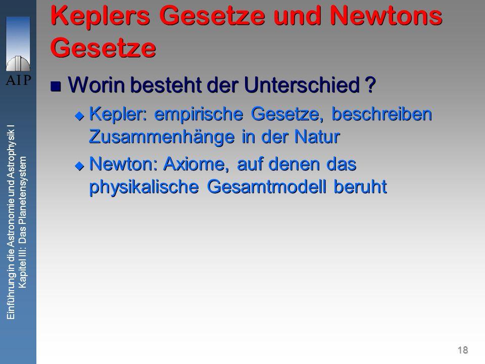 18 Einführung in die Astronomie und Astrophysik I Kapitel III: Das Planetensystem Keplers Gesetze und Newtons Gesetze Worin besteht der Unterschied ?