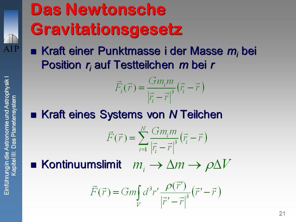21 Einführung in die Astronomie und Astrophysik I Kapitel III: Das Planetensystem Das Newtonsche Gravitationsgesetz Kraft einer Punktmasse i der Masse