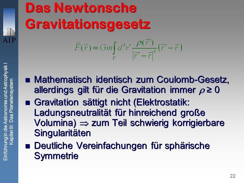 22 Einführung in die Astronomie und Astrophysik I Kapitel III: Das Planetensystem Das Newtonsche Gravitationsgesetz Mathematisch identisch zum Coulomb
