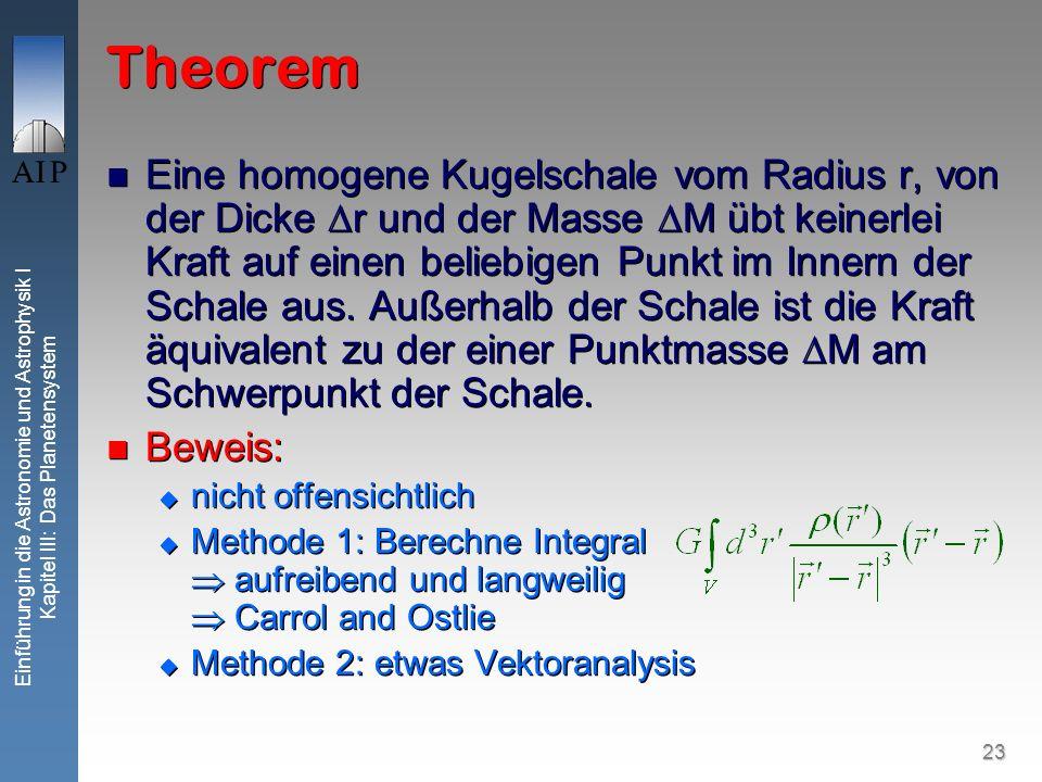 23 Einführung in die Astronomie und Astrophysik I Kapitel III: Das Planetensystem Theorem Eine homogene Kugelschale vom Radius r, von der Dicke r und