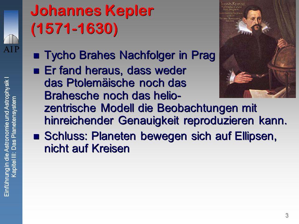 3 Einführung in die Astronomie und Astrophysik I Kapitel III: Das Planetensystem Johannes Kepler (1571-1630) Tycho Brahes Nachfolger in Prag Er fand h