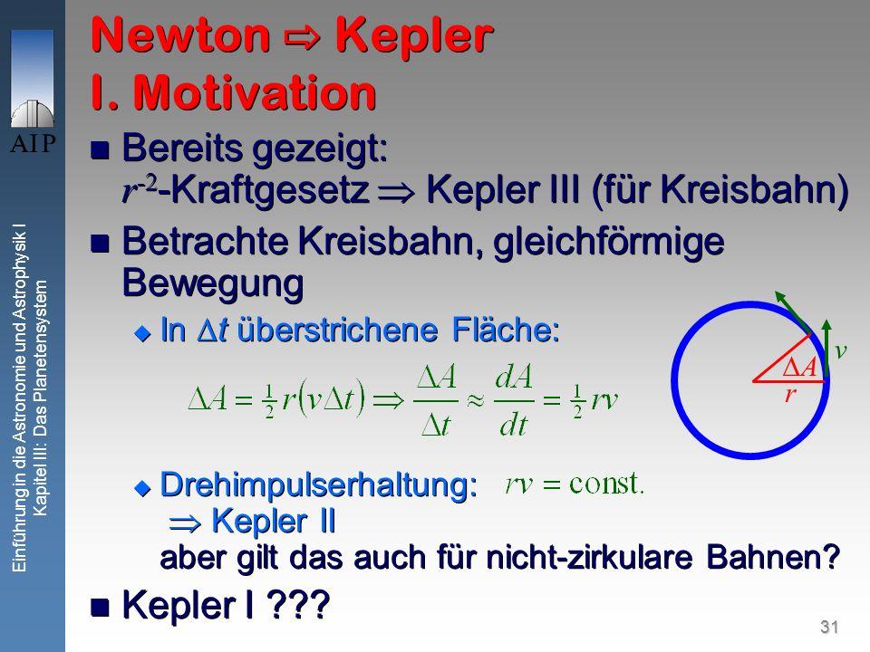 31 Einführung in die Astronomie und Astrophysik I Kapitel III: Das Planetensystem Bereits gezeigt: r -2 -Kraftgesetz Kepler III (für Kreisbahn) Betrac