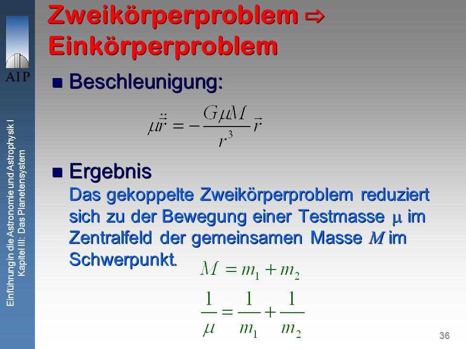 36 Einführung in die Astronomie und Astrophysik I Kapitel III: Das Planetensystem Zweikörperproblem Einkörperproblem Beschleunigung: Ergebnis Das geko