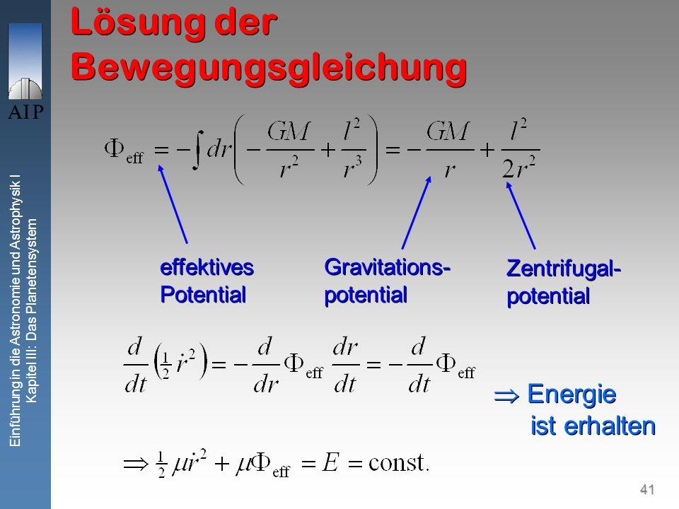 41 Einführung in die Astronomie und Astrophysik I Kapitel III: Das Planetensystem Lösung der Bewegungsgleichung Gravitations- potential Zentrifugal- p