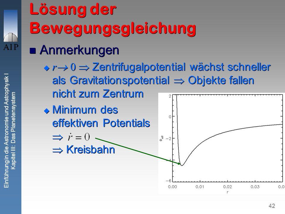 42 Einführung in die Astronomie und Astrophysik I Kapitel III: Das Planetensystem Lösung der Bewegungsgleichung Anmerkungen r 0 Zentrifugalpotential w