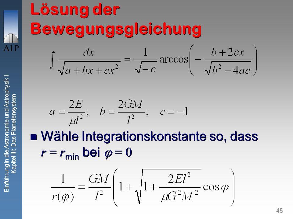 45 Einführung in die Astronomie und Astrophysik I Kapitel III: Das Planetensystem Lösung der Bewegungsgleichung Wähle Integrationskonstante so, dass r