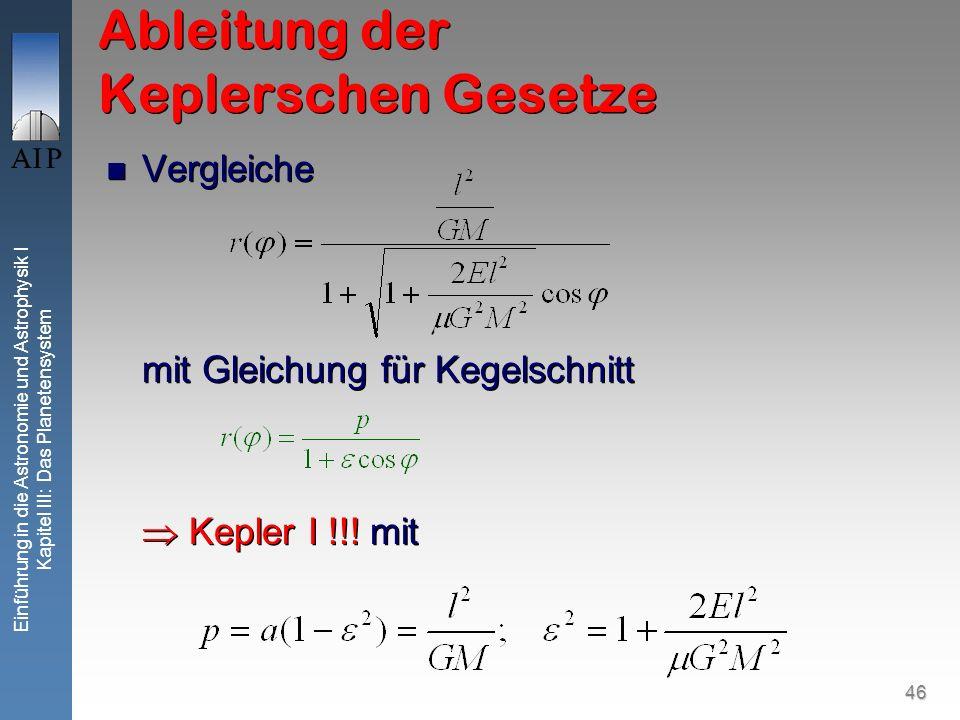 46 Einführung in die Astronomie und Astrophysik I Kapitel III: Das Planetensystem Ableitung der Keplerschen Gesetze Vergleiche mit Gleichung für Kegel