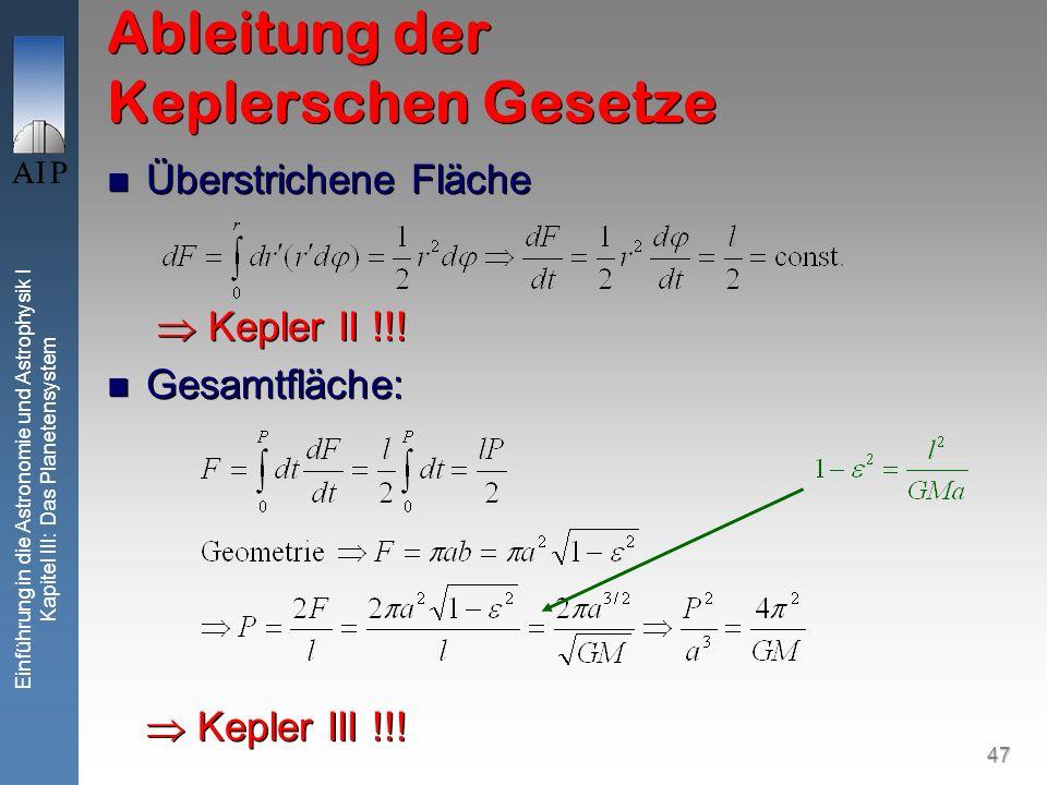 47 Einführung in die Astronomie und Astrophysik I Kapitel III: Das Planetensystem Ableitung der Keplerschen Gesetze Überstrichene Fläche Kepler II !!!