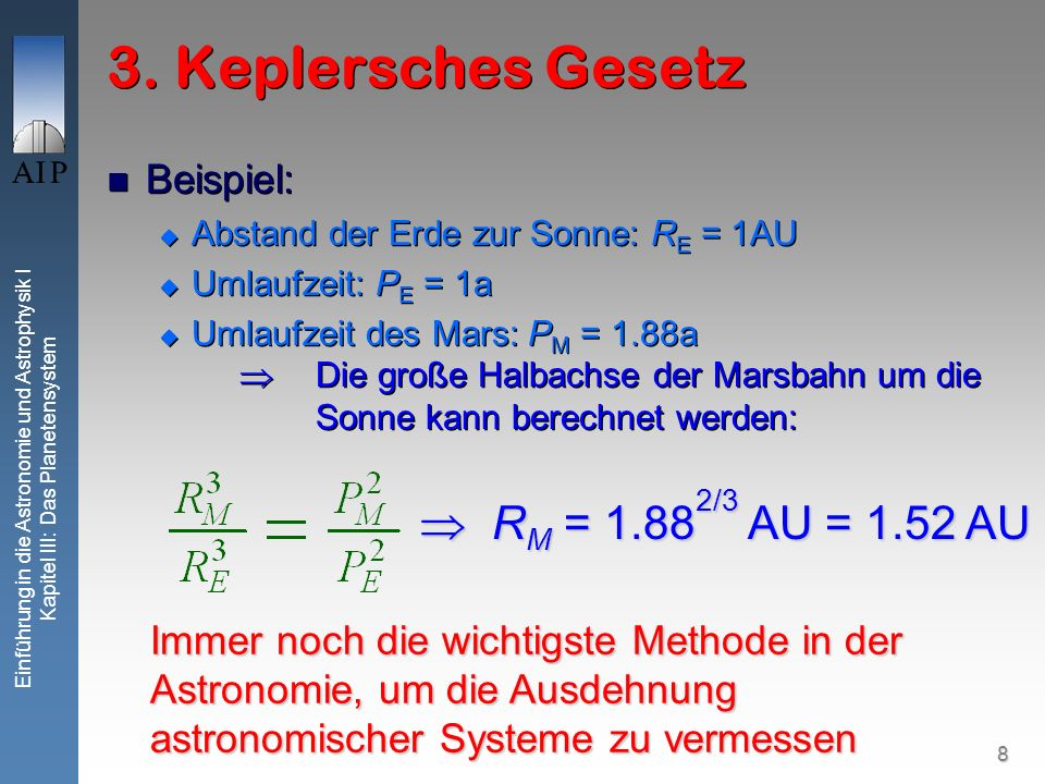 9 Einführung in die Astronomie und Astrophysik I Kapitel III: Das Planetensystem Weiteres Beispiel 1781: Herschel entdeckt Uranus Abstand Erde zur Sonne: R E = 1AU Umlaufzeit der Erde: P E = 1a Über Parallaxen: R U = 19.2 AU Die Umlaufzeit von Uranus um die Sonne kann berechnet werden: 1781: Herschel entdeckt Uranus Abstand Erde zur Sonne: R E = 1AU Umlaufzeit der Erde: P E = 1a Über Parallaxen: R U = 19.2 AU Die Umlaufzeit von Uranus um die Sonne kann berechnet werden: P U = 19.2 3/2 yr = 84 yr P U = 19.2 3/2 yr = 84 yr