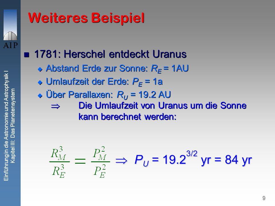 9 Einführung in die Astronomie und Astrophysik I Kapitel III: Das Planetensystem Weiteres Beispiel 1781: Herschel entdeckt Uranus Abstand Erde zur Son