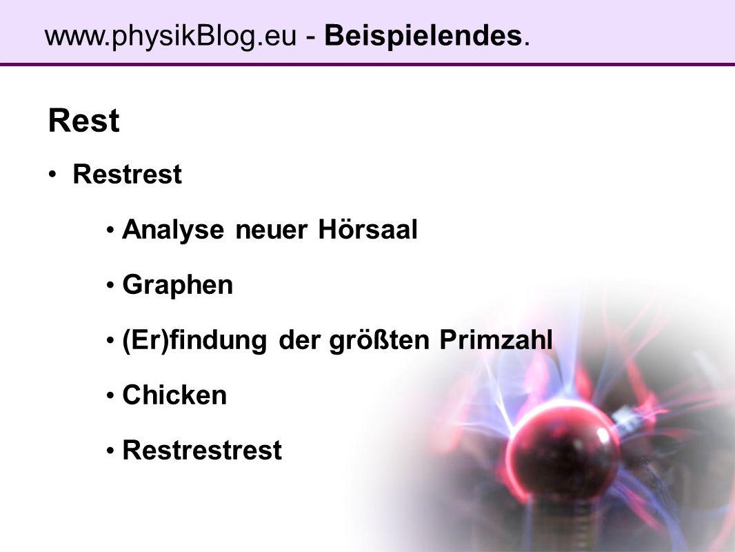 Rest Restrest Analyse neuer Hörsaal Graphen (Er)findung der größten Primzahl Chicken Restrestrest www.physikBlog.eu - Beispielendes.