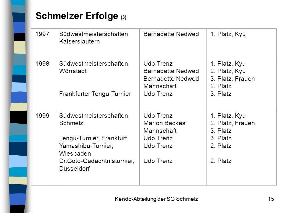 Kendo-Abteilung der SG Schmelz15 1997Südwestmeisterschaften, Kaiserslautern Bernadette Nedwed1. Platz, Kyu 1998Südwestmeisterschaften, Wörrstadt Frank