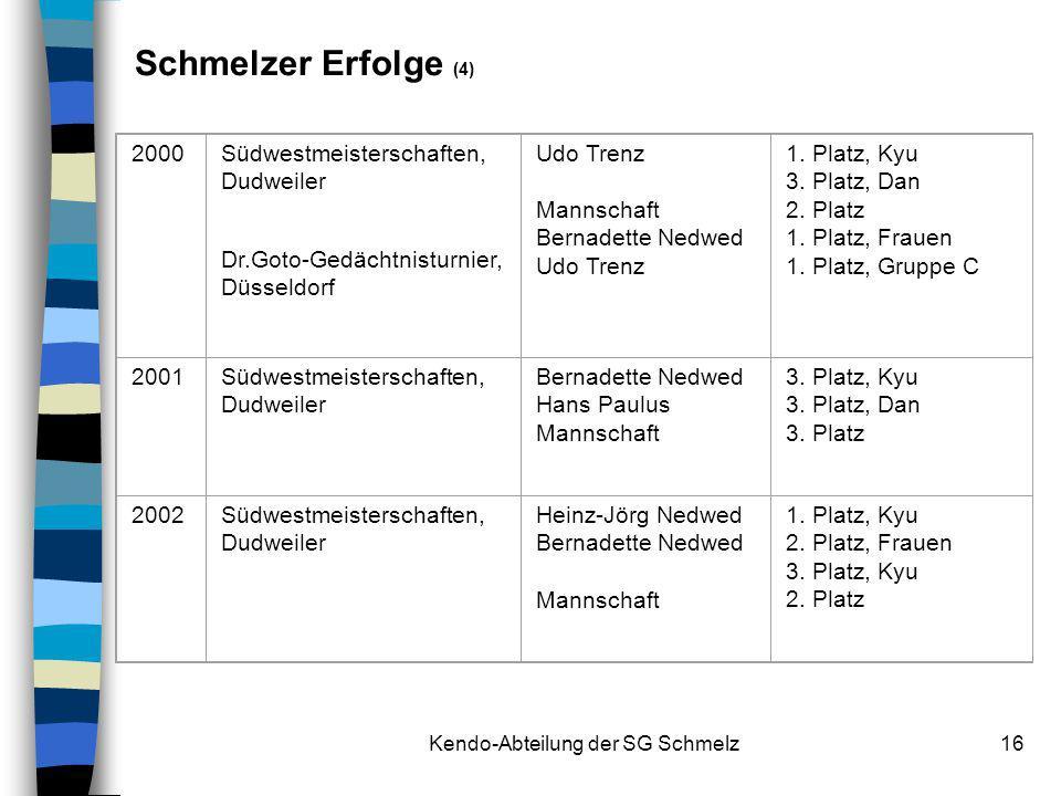 Kendo-Abteilung der SG Schmelz16 2000Südwestmeisterschaften, Dudweiler Dr.Goto-Gedächtnisturnier, Düsseldorf Udo Trenz Mannschaft Bernadette Nedwed Ud
