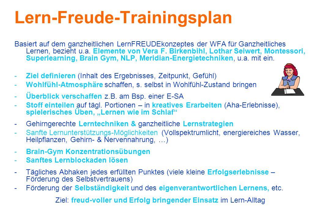Lern-Freude-Trainingsplan Basiert auf dem ganzheitlichen LernFREUDEkonzeptes der WFA für Ganzheitliches Lernen, bezieht u.a. Elemente von Vera F. Birk