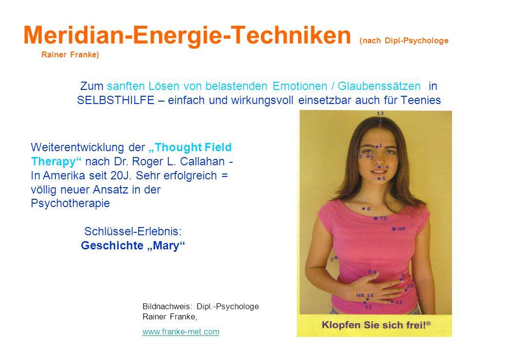 Meridian-Energie-Techniken (nach Dipl-Psychologe Rainer Franke) Zum sanften Lösen von belastenden Emotionen / Glaubenssätzen in SELBSTHILFE – einfach