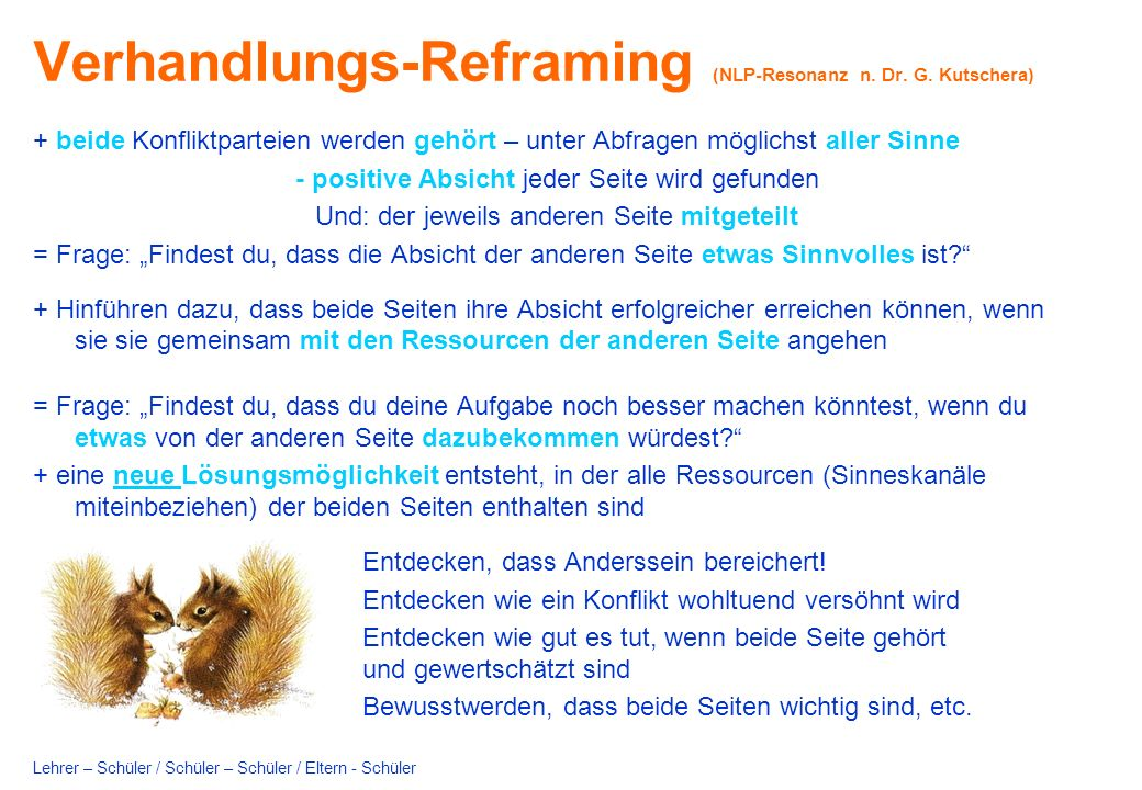 Verhandlungs-Reframing (NLP-Resonanz n.Dr. G.