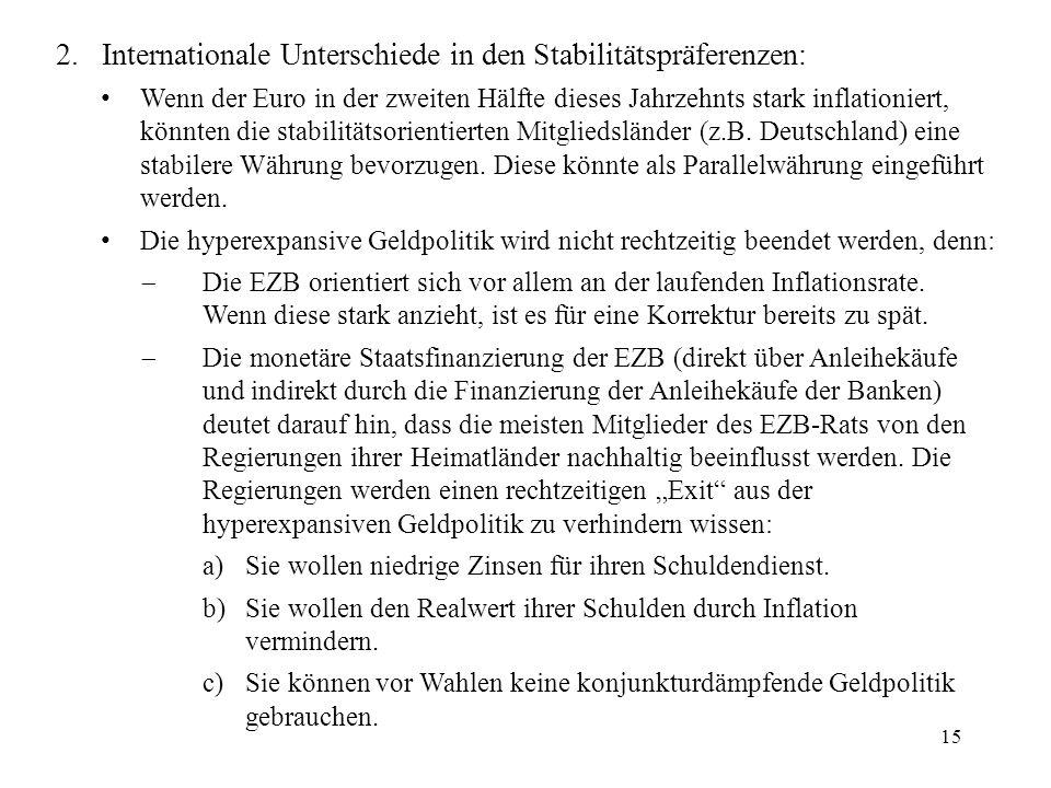 15 2. Internationale Unterschiede in den Stabilitätspräferenzen: Wenn der Euro in der zweiten Hälfte dieses Jahrzehnts stark inflationiert, könnten di