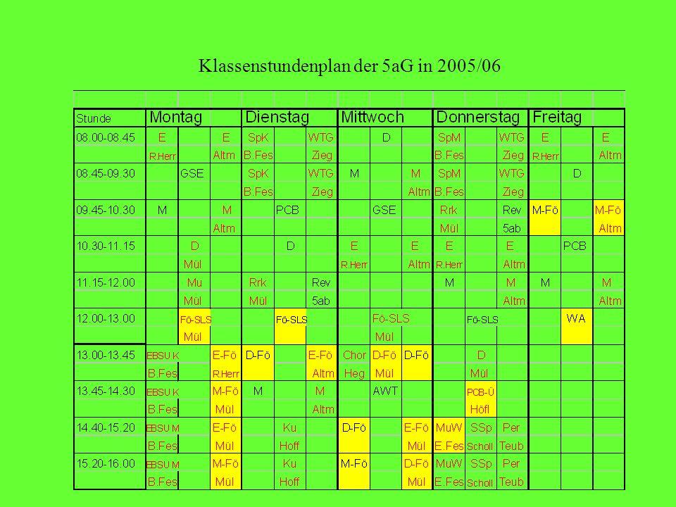 Klassenstundenplan der 5aG in 2005/06