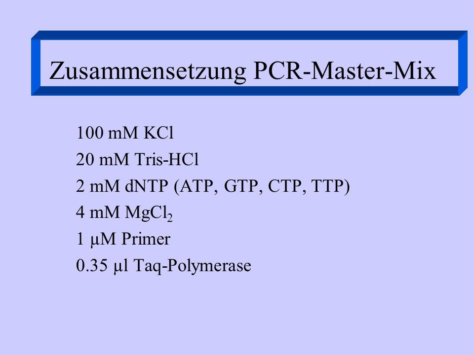Zusammensetzung PCR-Master-Mix 100 mM KCl 20 mM Tris-HCl 2 mM dNTP (ATP, GTP, CTP, TTP) 4 mM MgCl 2 1 µM Primer 0.35 µl Taq-Polymerase