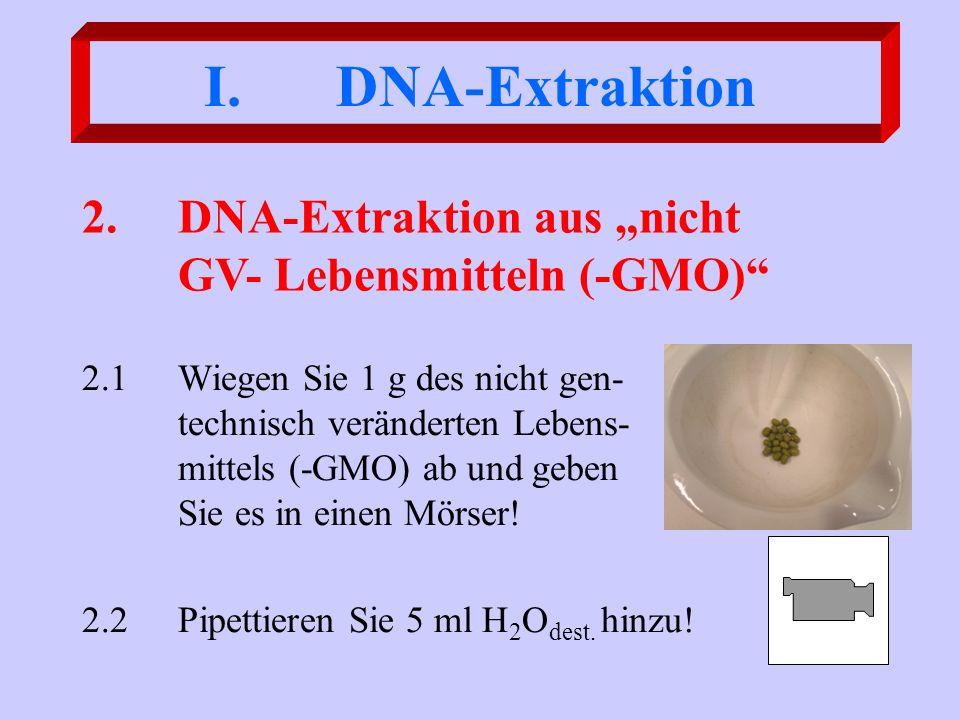 I. DNA-Extraktion 2.1Wiegen Sie 1 g des nicht gen- technisch veränderten Lebens- mittels (-GMO) ab und geben Sie es in einen Mörser! 2.2Pipettieren Si