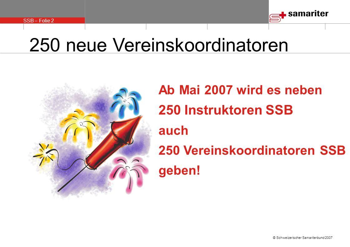 SSB – Folie 2 © Schweizerischer Samariterbund 2007 250 neue Vereinskoordinatoren Ab Mai 2007 wird es neben 250 Instruktoren SSB auch 250 Vereinskoordinatoren SSB geben!