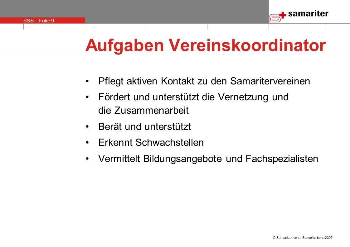 SSB – Folie 9 © Schweizerischer Samariterbund 2007 Aufgaben Vereinskoordinator Pflegt aktiven Kontakt zu den Samaritervereinen Fördert und unterstützt die Vernetzung und die Zusammenarbeit Berät und unterstützt Erkennt Schwachstellen Vermittelt Bildungsangebote und Fachspezialisten