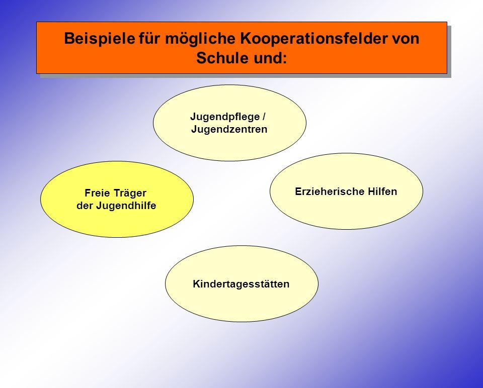 Beispiele für mögliche Kooperationsfelder von Schule und: Jugendpflege / Jugendzentren Freie Träger der Jugendhilfe Kindertagesstätten Erzieherische Hilfen